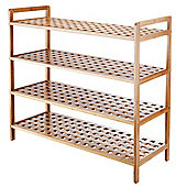 VonHaus 4-Tier Slimline Bamboo Shoe Rack/Shelf Organiser