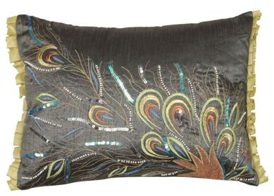 Gunmetal Sequin Small Cushion Peacock Feather Design