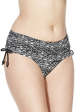 Curvy Kate Diffuse Squiggle Print Bikini Shorts - Black