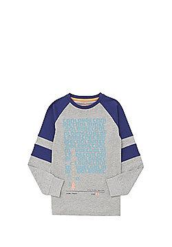 F&F Cool Dude Slogan Long Sleeve T-Shirt - Grey & Blue