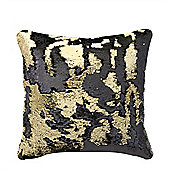 Two Tone Sequin Siren Cushion - Black & Gold