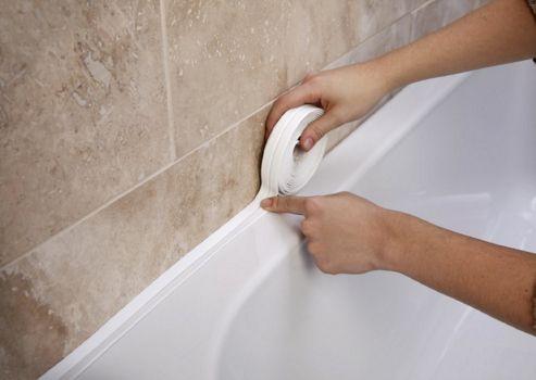 Bathroom Shower Sink or Bath Sealing Strip - White