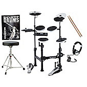 Roland TD-4KP Portable V-Drums Electronic Drum Kit Package With Stool, Sticks, Headphones, Bass Drum Pedal And FREE Backbone Drums Book And C.D
