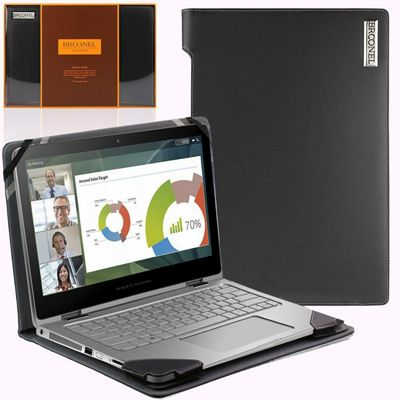Broonel London - Profile Series - Black Leather Luxury Laptop Case For Laptops up to 13 inches