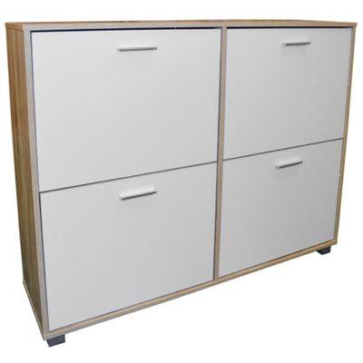Foot Xl Large Shoe Storage Cabinet Limed Oak White