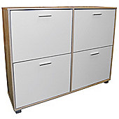 Bigfoot - Xl Large Shoe Storage Cabinet - Limed Oak / White