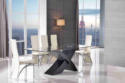 Valencia Glass & Black Oak 160 cm Dining Table & 6 Alisa Ivory Chairs