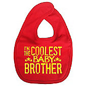 Dirty Fingers I'm the Coolest Baby Brother Baby Bib Red