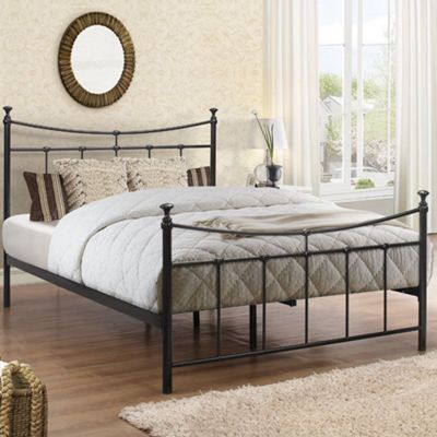 Happy Beds Emily Metal High Foot End Bed with Open Coil Spring Mattress - Black - 4ft6 Double