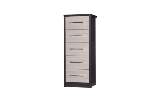 Alto Furniture Avola 5 Drawer Tall Boy Chest - Grey Carcass With Champagne Avola