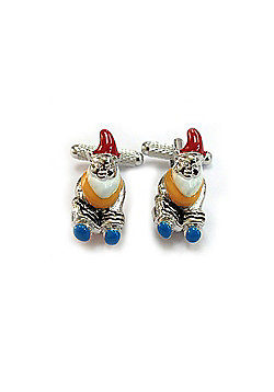 Garden Gnome Cufflinks - Silver & Enamel Finish - ck902