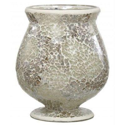 Decorative Candle Holder in Stylish Cream and Gold Mosaic Finish