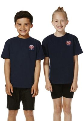 Unisex Embroidered School T-Shirt 3-4 years Navy
