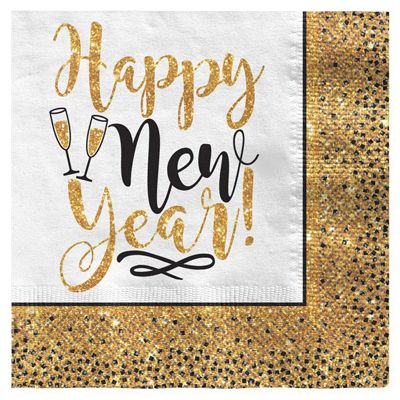 Gold Glitter New Year Lunch Napkin