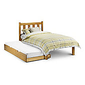 Happy Beds Poppy Antique Solid Pine Wooden Guest Bed and Trundle 2 Orthopaedic Mattresses 3ft Single