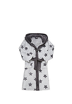 F&F Star Print Soft Touch Dressing Gown - Grey