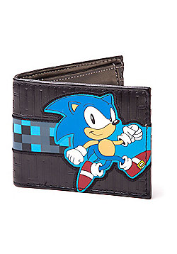 Sega Sonic The Hedgehog Running Bi-fold Wallet, Black (mw150990seg) - Accessories
