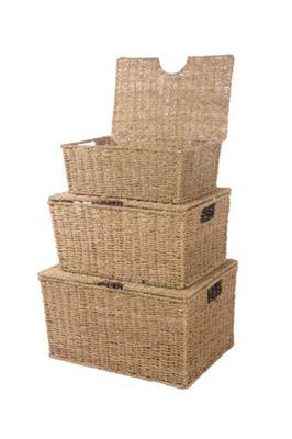 Wicker Valley 26cm Seagrass Storage Box 3 Piece Set