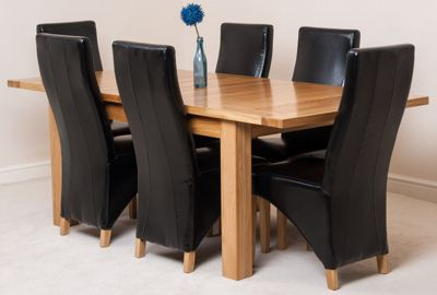 Seattle Solid Oak Extending 150 - 210 cm Dining Table with 6 Black Lola Leather Chairs