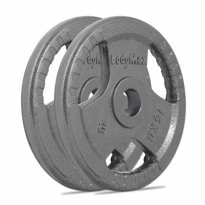 Bodymax Olympic Cast Iron Tri-Grip Weight Disc Plates - 2 x 15kg