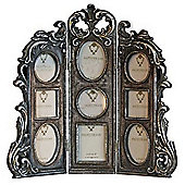 Victoria - 9 Aperture Ornate Folding Photo Frame - Antique Silver