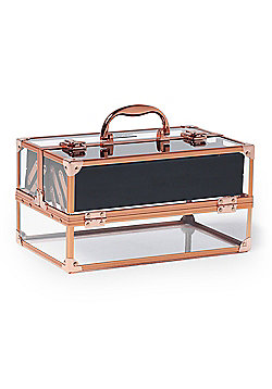 Beautify Professional Large Lockable Acrylic Beauty Case with Rose Gold Frame