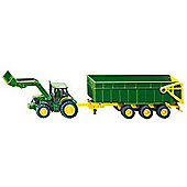 Vehicles - Farmer 1:87 - John Deere Tractor w/ Front Loader & Trailer 1843 - Siku