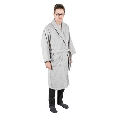Homescapes Silver 100% Egyptian Cotton Terry Towelling Adults Shawl Collar Bathrobe, XXL