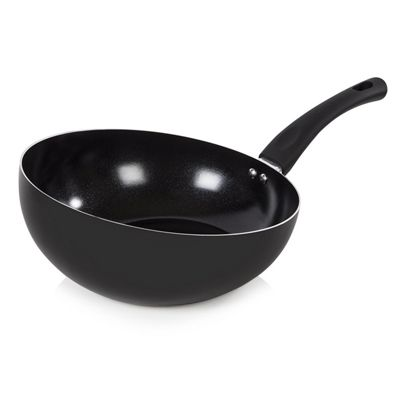 Tower 24cm Ceramic Angled Wok - Black