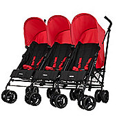 Obaby Mercury Triple Stroller - Black & Red