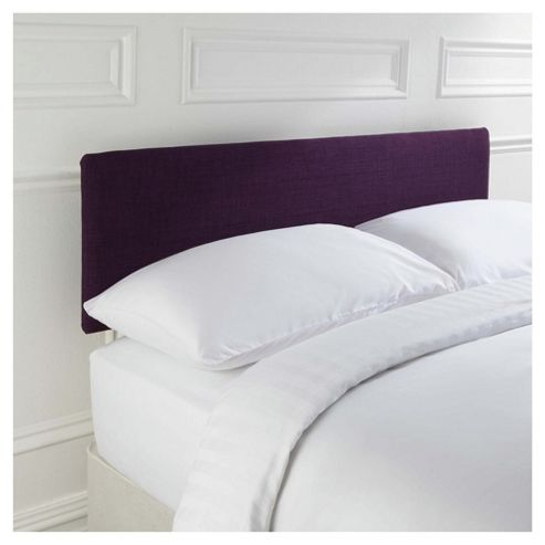 Seetall Mittal Headboard Linen Effect Aubergine Fabric, Double