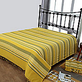 Homescapes Cotton Morocco Striped Yellow Throw, 255 x 360 cm