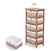 Homcom 5 Drawer Storage Unit Wooden Frame with Wicker Woven Baskets