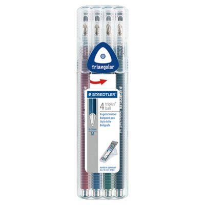 Staedtler Triplus Ballpoint Pens, Red, Blue, Green & Black, 4 Pack