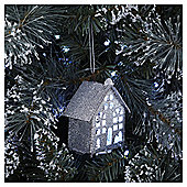 Silver Glitter Light Up House Christmas Tree Decoration
