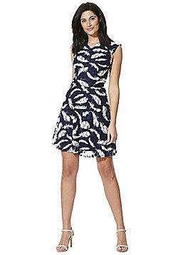Mela London Feather Mesh Overlay Skater Dress - Blue