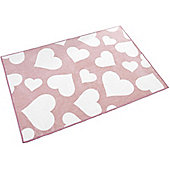 Pink and White Love Heart Rug - 100 x 150 cm