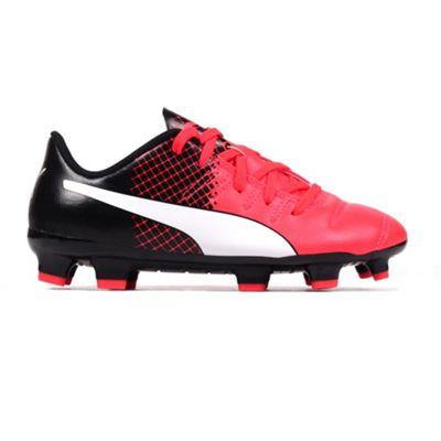 Puma evoPOWER 4.3 FG Firm Ground Kids Football Boot Shoe Red/ Black - UK 5