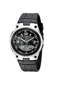 Casio AW80-1A2V Mens Quartz Watch│Digital & Analogue Display│Black Resin Strap│
