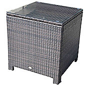 Outsunny Rattan Garden Furniture Side Table with Tempered Glass