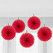 Red Hanging Fan Decorations - 15.2cm