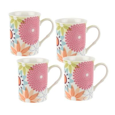 Portmeirion Crazy Daisy Set of 4 Mugs, 12oz