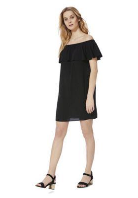 F&F Ruffle Bardot Summer Dress Black 18