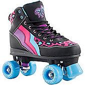 Rio Roller Style Leopard Ltd Edition Quad Roller Skates - Black
