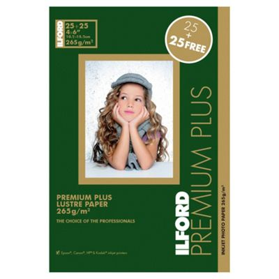 Ilford premium plus lustre photo paper - 50 sheets