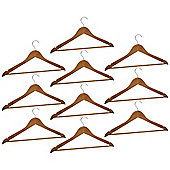 Harbour Housewares Pack of 10 Natural Wooden Clothes / Coat Hangers