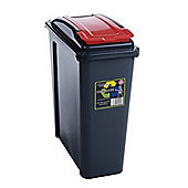Wham Recycling Bin Slim Kitchen Trash Can Rubbish Dustbin with Red Lid 25 Litres
