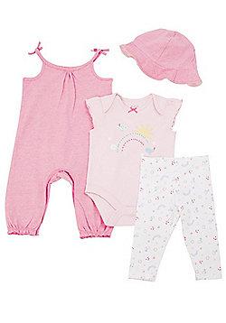 F&F Birdie 4 Piece Baby Set - Pink/Multi