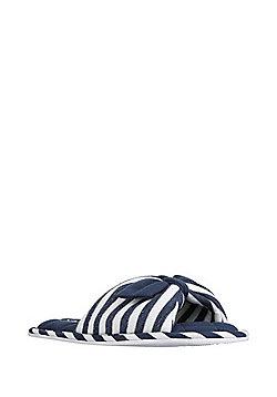 F&F Striped Open Toe Mule Slippers - Navy