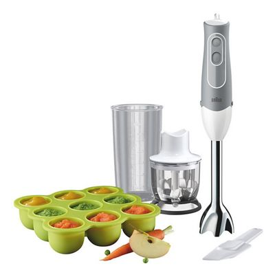 Braun-MQ523 MultiQuick 5 Baby Food Hand Blender with 600w Power and Freezer Container in White
